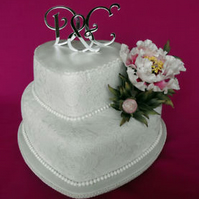 New monogram letters wedding cake toppers set of three laser cut mirror finish