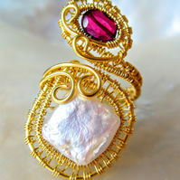 HANDMADE GARNET AND FRESHWATER PEARL GOLD PLATED WIRE WRAPPED ADJUSTABLE RING