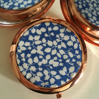 Liberty of London Tana Lawn Fabric Print Compact Mirror in vintage rose gold