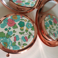 Liberty of London Tana Lawn Fabric Print Rose Gold Compact Mirror - gift