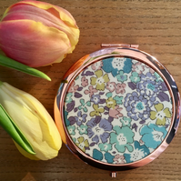 Beautiful Liberty of London Tana Lawn Fabric covered Compact Mirror