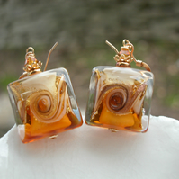Murano Glass Amber Earrings