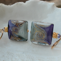Murano Glass Purple & Grey Earrings