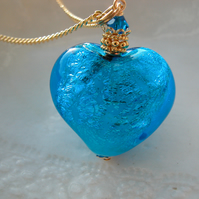 Exclusive Murano Blue Glass Heart Necklace