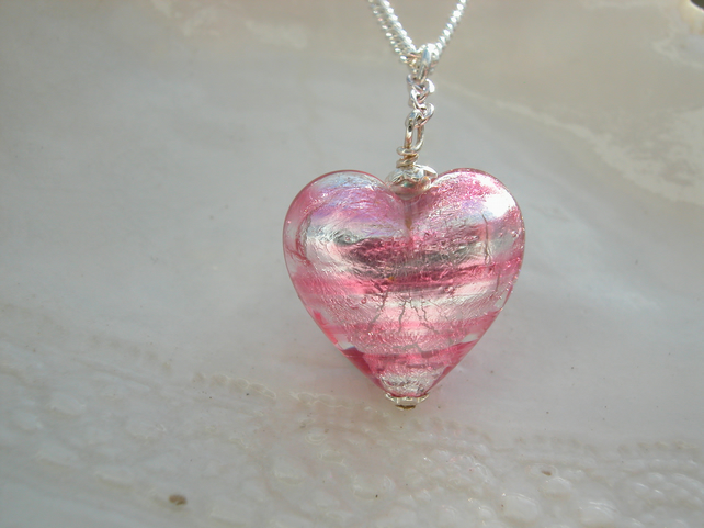 Pink Venetian Murano Glass Heart Necklace, Unusual Size