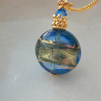 Murano Glass Blue and Gold Necklace