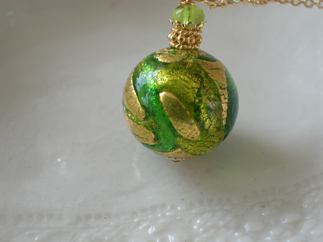 Green Necklace In Murano Glass