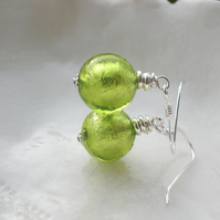 Small Murano Green Glass Earrings