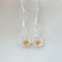 Sterling Silver Daisy Earrings With 24k Gold Vermeil Detail