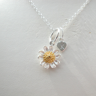 Personalised Sterling Silver Daisy Charm Necklace
