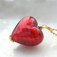 Red Murano Glass Heart Necklace, 14k Gold Filled