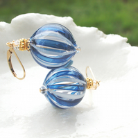 Round Murano Blown Glass 14k Gold Fill  Earrings