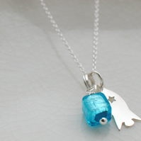 Sterling Rocket Charm Necklace With Murano Glass - Can Be Personalised