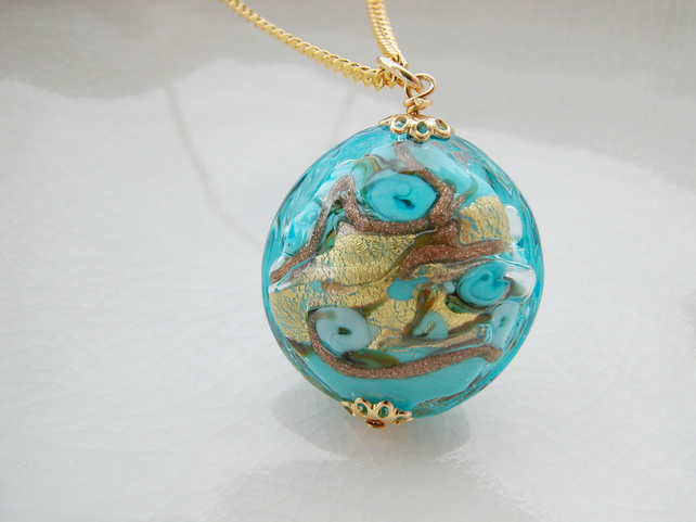Blue Venetian  Murano Glass Necklace