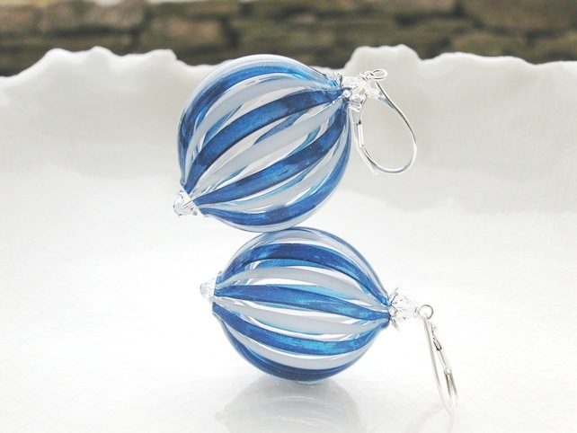 Venetian Murano Blown Glass Penny  Earrings