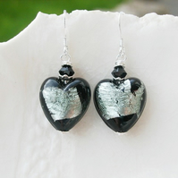 Venetian Murano Black Glass Abstract Earrings