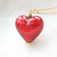 Red Murano Glass Heart Necklace, 18""