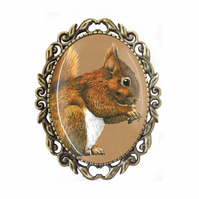 Squirrel Gift - Squirrel Brooch - Red Squirrel - Squirrel Art - Squirrel Gifts