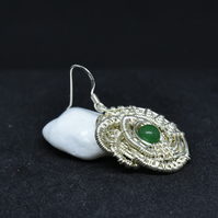 Wire wrapped Green Jade stone earrings