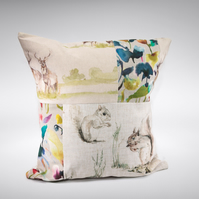 Squirrel and Stag Jumbo Linen Patchwork Cushion