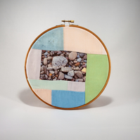 Unique patchwork textile art in embroidery hoop with inspirational quote