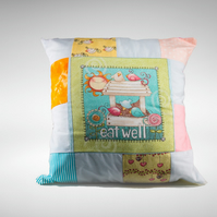 "Unique Patchwork Cute Birds Cushion Featuring inspirational quote ""eat well"""