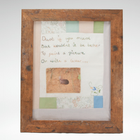 Unique framed patchwork textile art Dust if you must quote