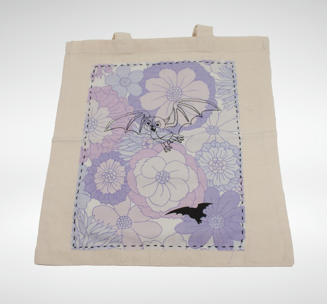 Unique Screenprinted Bat Eco Cotton Tote Bag with Vintage Purple Fabric