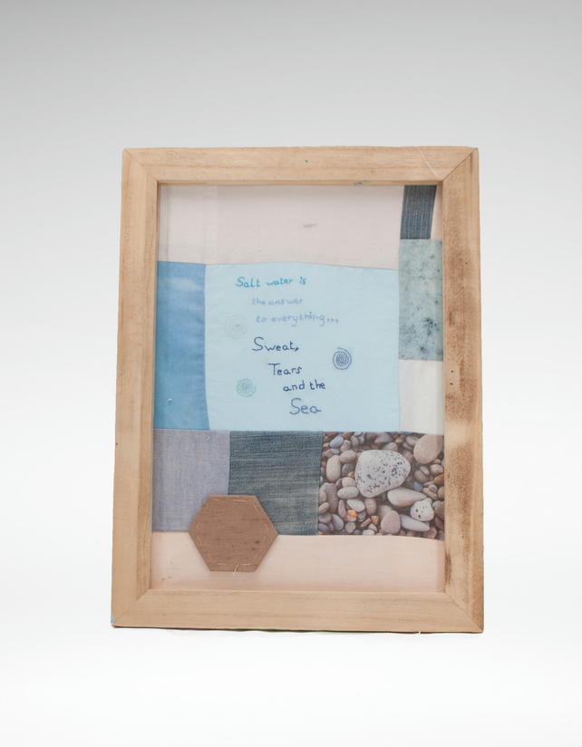 Unique framed patchwork textile art Salt water is the answer to everything quote