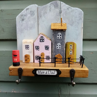 Cottage Scene with post box Key Hanger