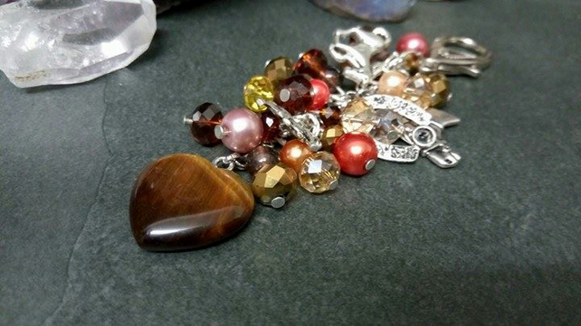 Tigers Eye and Horse Bag Charm