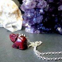 Red Jasper Elephant Necklace