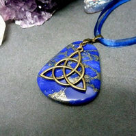 Lapis Lazuli and Triquetra Necklace