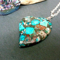 Sea Sediment Jasper Heart Necklace