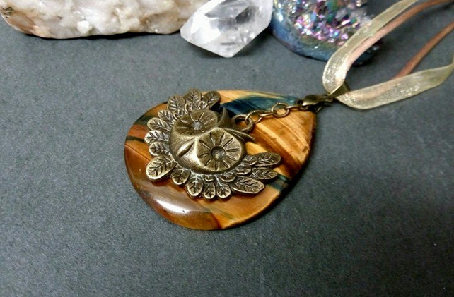 Tigers Eye and Owl Necklace