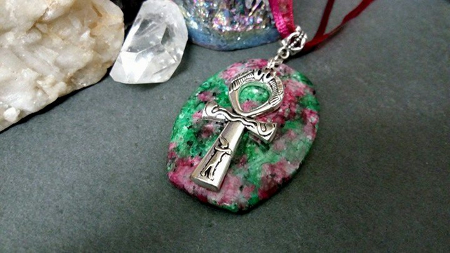 Ruby In Zoisite and Ankh Necklace