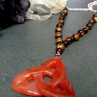 Carnelian, Tigers Eye, Triquetra Necklace