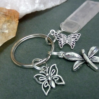 Butterfly and Rose Quartz Keyring