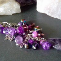 Amethyst and Butterfly Bag Charm