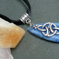 Blue Lace Agate and Triquetra Necklace