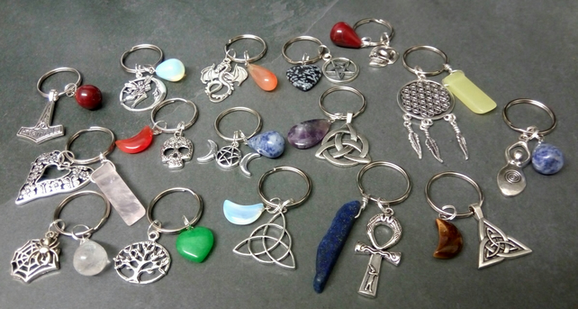 Mixed Gemstone Keyring