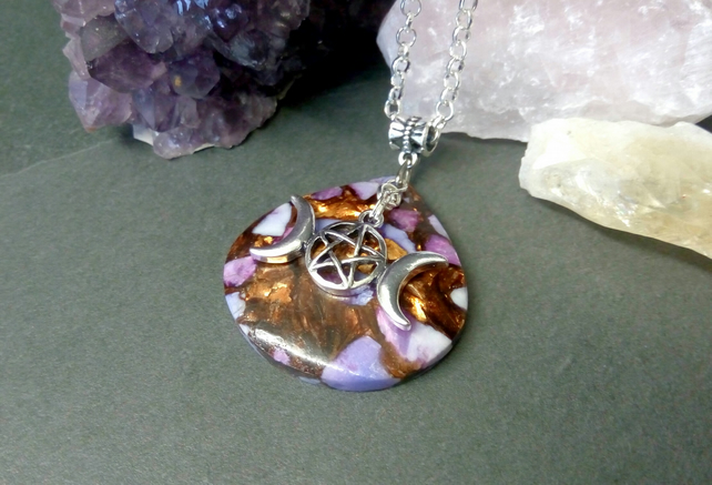 Sea Sediment Jasper and Triple Moon Necklace