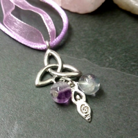 Fluorite, Triquetra and Goddess Necklace