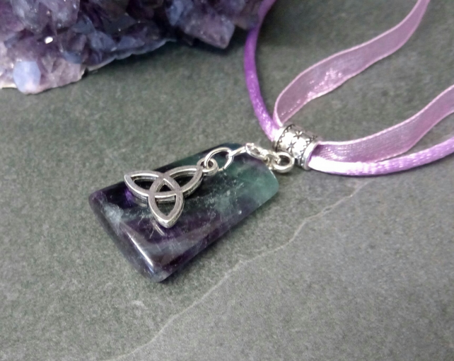 Fluorite and Triquetra Necklace