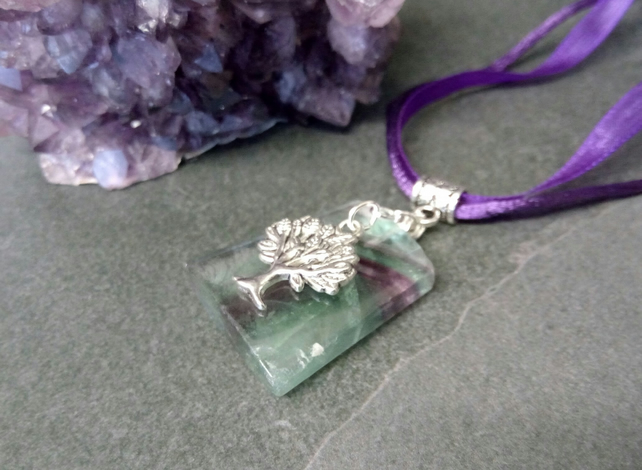 Fluorite and Tree Necklace
