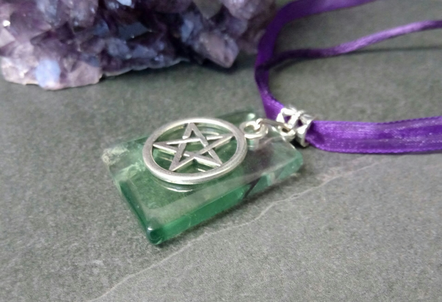 Fluorite and Pentacle Necklace