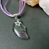 Fluorite Moon and Star Necklace