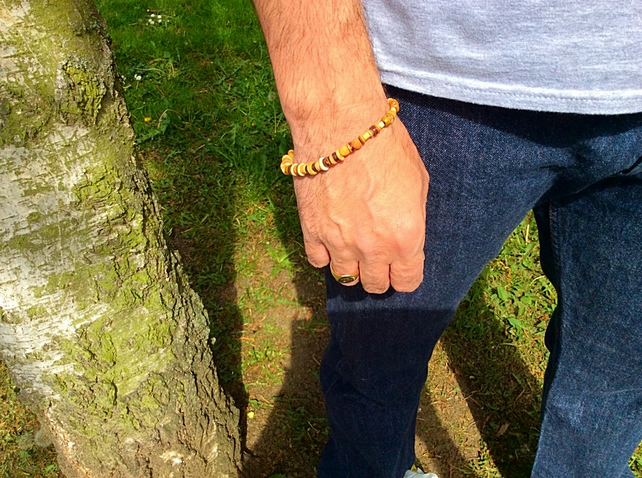 mens Wooden bead bracelet,father's Day gifts,men's bead bracelets