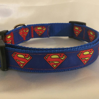 Superman Handmade Adjustable Dog Collar