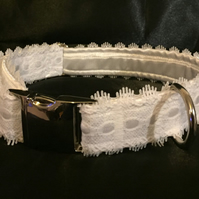 White Satin & Lace Adustable Dog Collar - Wedding